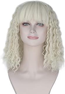 Miss U Hair Women Short Kinky Spiral Curly Hair with Full Bangs Punk Lolita Costume Cosplay Wig (Platinum)