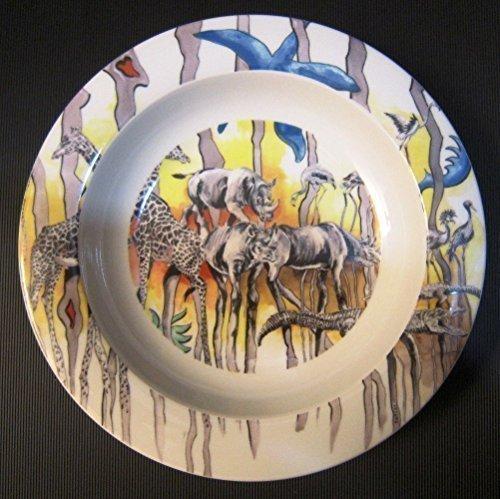 Bopla! NURU Porzellan Safari gelb tiefer Teller Suppenteller oder Schale Brötchenschale Salatschale ASSIETTE CREUSE - Piatto Fondo - DEEP Plate - Plato Hondo Durchmesser Ø 22 cm, 8-5/8 in
