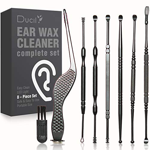 Ear Wax Removal Kit, 8 Types Earwax Removal Tools, Ear Cleaner, Safe and Easy Ear Wax Remover for Home, Complete Ear Cleaning Kit with Storage Box, Earwax Cleaners for Adults and Kids
