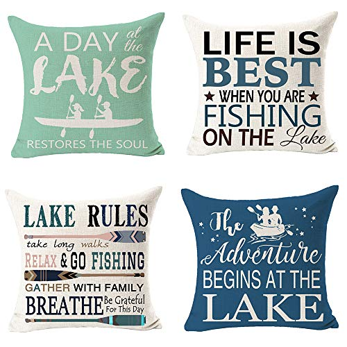 "Pack of 4 Lake Rules Adventure Begins at Lake Fishing Fun Quote Best Gift for Camping Travel Lake Cotton Linen Square Throw Pillow Case Decorative Cushion Cover Pillowcase for Bed Coach Sofa 18""x 18"""