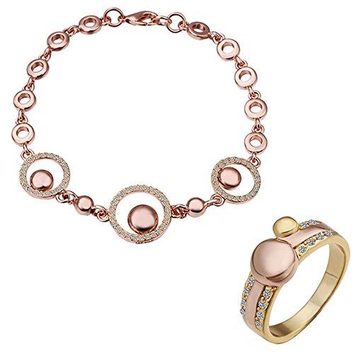 fashionbeautybuy donne cristallo cerchio placcato oro rosa anello braccialetto festa di nozze gioielli set corpo catena