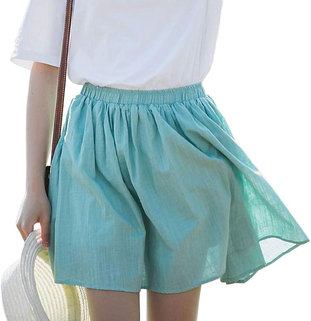 CHARTOU Women's Cute Elastic Waist Cotton Linen Shirring A Line Short Beach Skirt