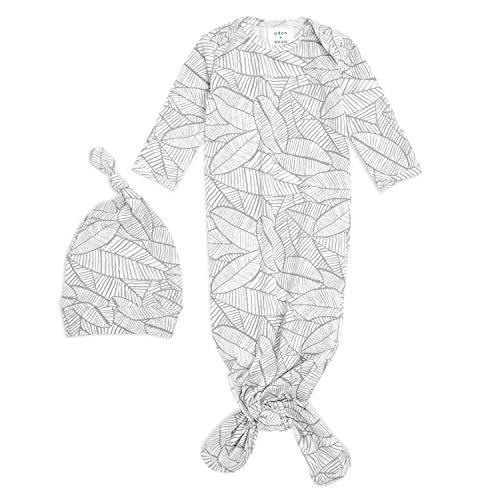 aden + anais - Coffret Cadeau Naissance Maille Confort, Avec Grenouillère Bébé et Bonnet de Naissance, Conçu en Coton, dès la Naissance, pour Nouveau-Né de 0-3 Mois, Fille et Garçon, Gris et Blanc
