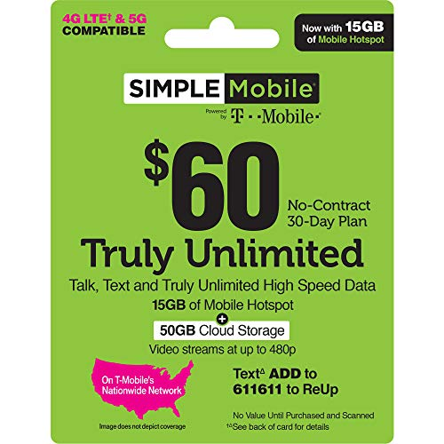 Simple Mobile $60 Truly Unlimited Plan Service Card (Physical Card Shipped)