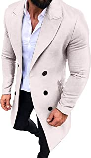 2019 Winter Trench Coats Men Button Outwear Warm Tops Casual Big and Tall Parka Jackets Overcoat Pocket 3XL