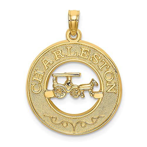Abalorio de oro amarillo de 14 quilates con diseño de caballo y carrito
