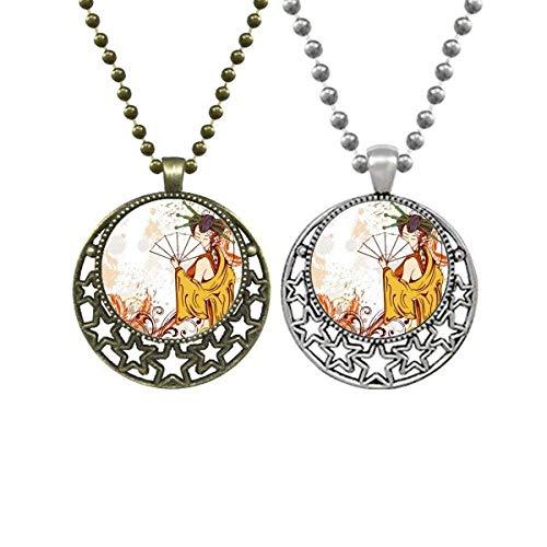 JapanFan - Collar con colgante de hojas decoradas a mano, diseño retro de luna y estrellas