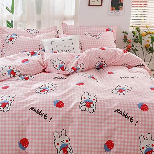 BlueBlue Strawberry Kids Duvet Cover Set Twin, 100% Cotton Bedding for Boys Girls Teens Single Bed, Cartoon Strawberry Rabbit Pattern Print on Pink Plaid, 1 Comforter Cover 2 Pillowcase (Twin, Rabbit)