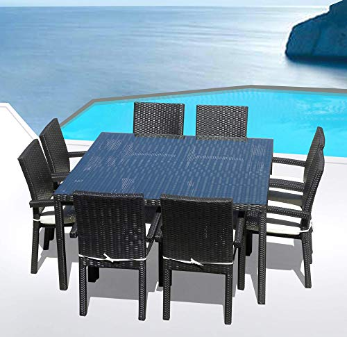 Hot Sale Outdoor Patio Wicker Furniture New All Weather Resin 9-Piece Dining Table & Chair Set
