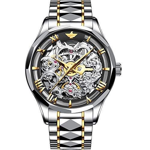 Verhux Automatik Uhr Herren Saphirglas und Wolfram Armband Luxus Skelett Mechanisch Uhren Geschenk für Männer