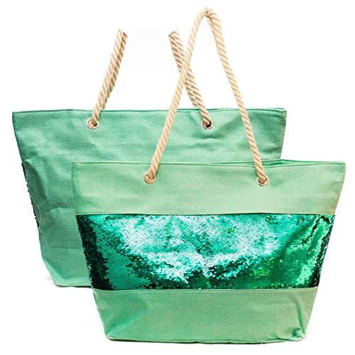 Kandharis Strandtasche Badetasche große Sommertasche Schultertasche Shopper mit Reissverschluss Wendepailletten Pailletten Metallic-Look XL Damen ST-25 Grün