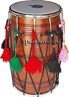 Punjabi Bhangra Dhol Drums Dark Sheesham Wood Playing Stick Dholak Great Soundbrown