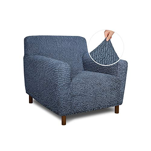 fits for chairs Chair Cover - Armchair Cover - Armchair Slipcover - Cotton Fabric Slipcover - 1-Piece Form Fit Stretch Stylish Furniture Protector - Mille Righe Collection - Blue (Chair)