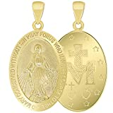 Solid 14k Yellow Gold Classic Miraculous Medallion of the Virgin Mary Pendant (Small)
