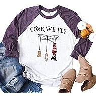 UNIQUEONE Come We Fly Halloween T-Shirt Women 3/4 Sleeve Baseball Shirts