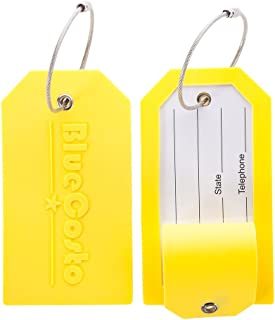 BlueCosto 2x Luggage Tag Suitcase Accessories w/Privacy Cover Steel Loops - Yellow