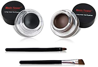 2 in 1 Black and Brown Gel Eyeliner Set Water Proof Smudge Proof, Last for All Day Long, Work Great with Ey...