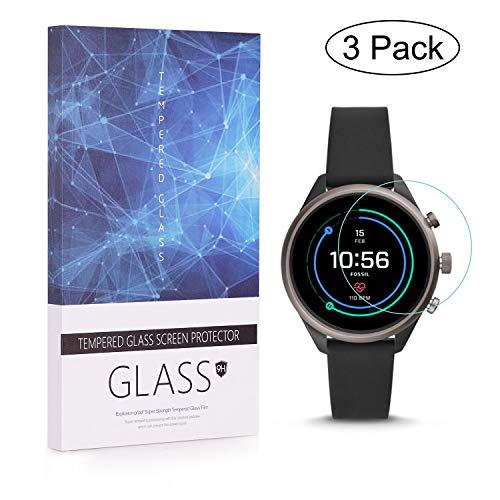 [3 unidades] Fossil Sport Smartwatch (41mm) Protector de pantalla Láminas de vidrio templado BECROWMEU cobertura completa 9H Dureza Antiarañazos película de alta definición caja de regalo transparente