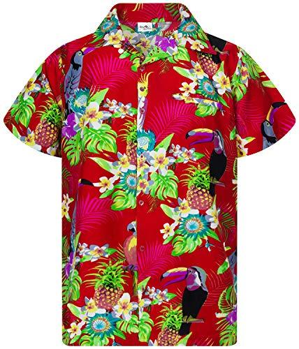 King Kameha Funky Camicia Hawaiana, Manica Corta, Parrot Cockatoo, Rosso, S