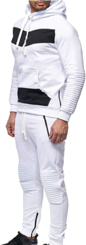 Gocgt Men's Sports Suit Winter Hooded Sweatshirt Top Pants Sets Tracksuits