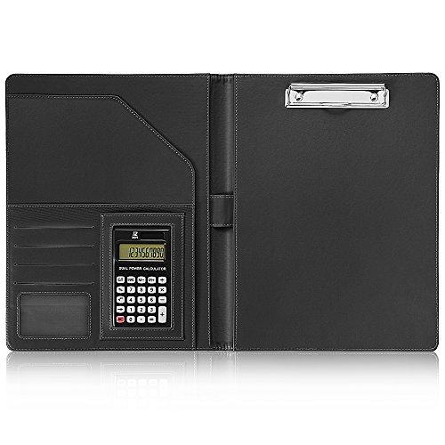 A4 バインダー, 12位電卓計算機付き A4書類契約フォルダー ビジネスオフィス用品 レザー高級感 バイン...