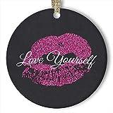EaYanery - Adorno de cerámica con diseño de labios con purpurina rosa (redondo)