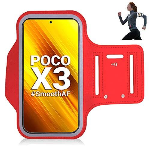 iPro Accessories Xiaomi Poco X3 NFC Funda, Xiaomi Poco X3 NFC Brazalete Caso, [Brazalete] Deportes, Correr, Correr, Caminar, Senderismo, Entrenamiento y Ejercicio Brazalete Cover (Rojo)