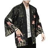 LAANCOO Chino Dragón Traditionald Hanfu Traje del Kimono Hombres Cardigan Cardigan Haori Samurai Karate Streetwear Camisa Japones Yukata Cubierta de Primavera y Verano al Aire Libre ClothesM