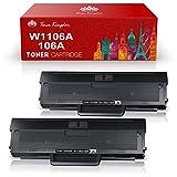 Toner Kingdom 106A de Repuesto Compatible para HP 106A W1106A Cartuchos de Tóner para HP Laser 107a 107r 107w MFP 135a 135r 135w 135wg MFP 137fnw 137fwg (2 Negros, con Chip)