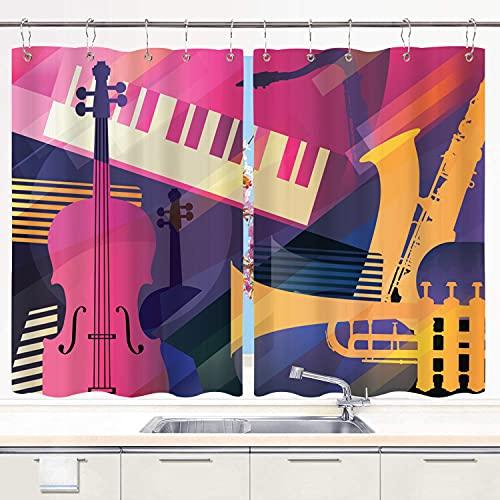 Küchenvorhang ,Jazz Art Trompete Kontrabass-Saxophon und Klavier, Küchendekorationen Fenstervorhänge, Fensterbehandlungsplatten-Sets Vorhänge Metallhaken enthalten 55 x 39 Zoll 2 Platten.