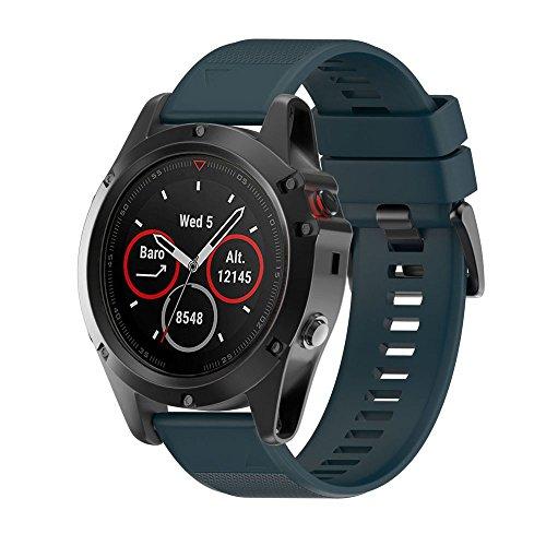 ESAILQ Smart Armband für Garmin Fenix 5 GPS Watch, Ersatz Silicagel Soft Band Strap Für Garmin Fenix 5 GPS Watch (B-Army Green)
