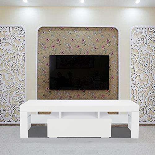 ruihong Mueble de TV LED de 130 cm, elegante decoración del hogar, mueble de TV LED, con un solo cajón, mueble de sala de estar, mueble de TV, color blanco (color: blanco)