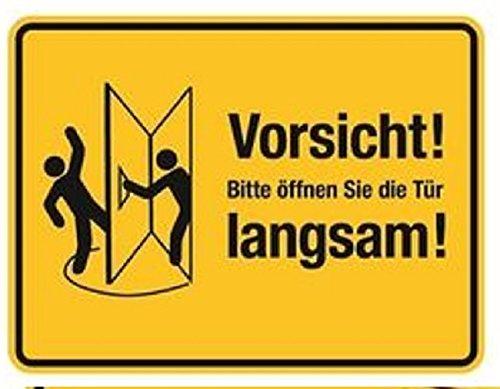 Folie selbstklebend Vorsicht! Bitte öffnen Sie die Tür langsam! - 200x150 gelb/schwarz (Tür Links)