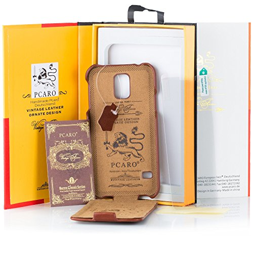 PCARO Smooth Jazz Carcasa de Piel de Fabricado a Mano de Piel para Samsung Galaxy S5en Negro Incluye Protector de Pantalla–Original Cover