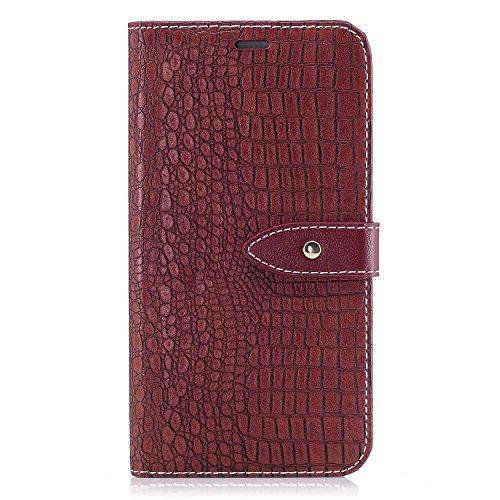 Cuero Fundas Huawei P8 Lite 2017, Funda Piel para Huawei P8 Lite 2017, Vino Rojo Carcasa para móvil Huawei P8 LITE 2017, Carcasa en libro, Loporte plegable, Billetera para tarjetas, Cierre Magnetico