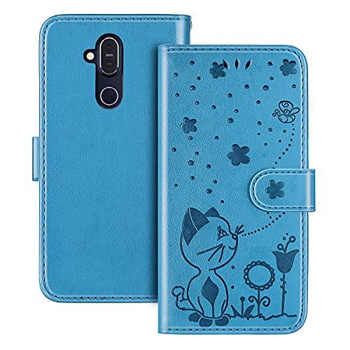 The Grafu Hülle für Nokia 7.1 Plus/Nokia 8.1 / Nokia X7, PU Leder Stoßfest Klapphülle Handyhülle für Nokia 7.1 Plus/Nokia 8.1 / Nokia X7, Brieftasche Schutzhülle mit Kartenfach, Blau