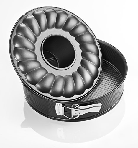 Zenker 6507 Moule à savarin, moule à manqué et savarin à charnière, moule couronne à charnière, moule à gâteau rond, Acier inoxydable, Noir, 24 x 24 x 6,5 cm