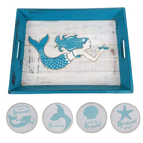 Mermaid Carved Wood Serving Tray Including 4 Mermaid Drink Coasters - Beach Drink Server Set for your Kitchen, Coffee Table, Ottoman Tray