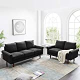 Dolonm 2 Piece Sofa Sets Mid Century Modern Upholstered Sectional Loveseat Couch Set Furniture for Living Room (Black)