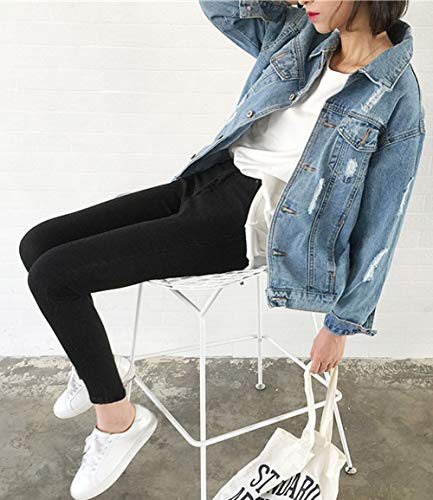 JUDYBRIDAL Oversize Denim Jacket for Women Ripped Jean Jacket Boyfriend Long Sleeve Coat Blue M