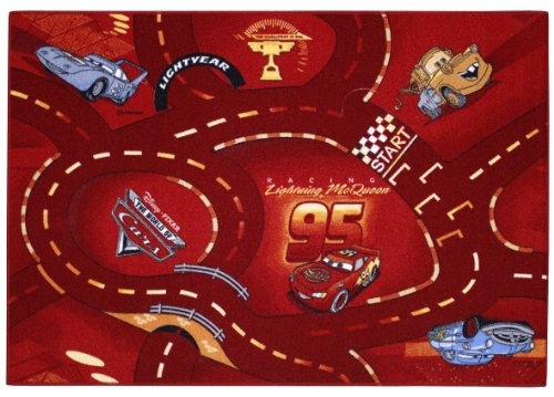 Tapis de décoration Disney Cars rouge circuit 95x133 cm