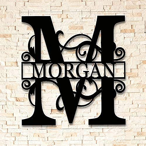 AJD Designs inc Split Letter Metal Monogram - Custom Last Name Sign -...