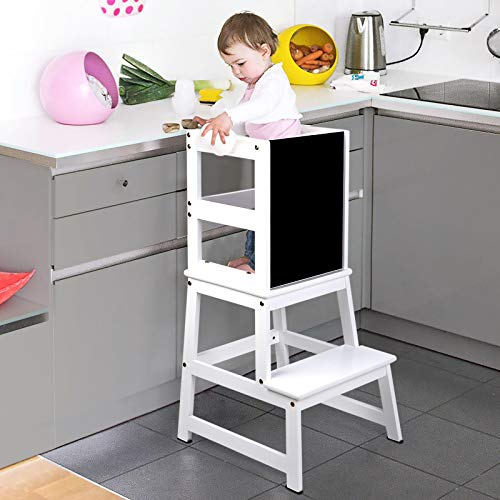 WilBee Kids Kitchen Step Stool Toddler Step Stool with Chalkboard amp Safety Rail for Toddlers 18 Months and Older Safety AntiSlip Protection Removable Step Stool for Adult Use White