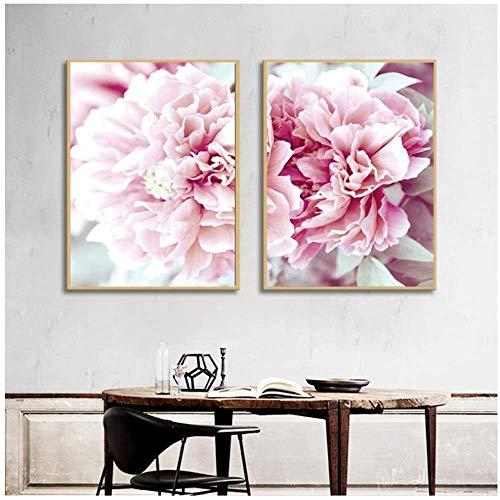 LangGe Flores de Color Rosa Flores de Lienzo Carteles nórdicos Impresiones Cuadros modulares para decoración del hogar de la Sala de estar2x60x80cm Sin Marco