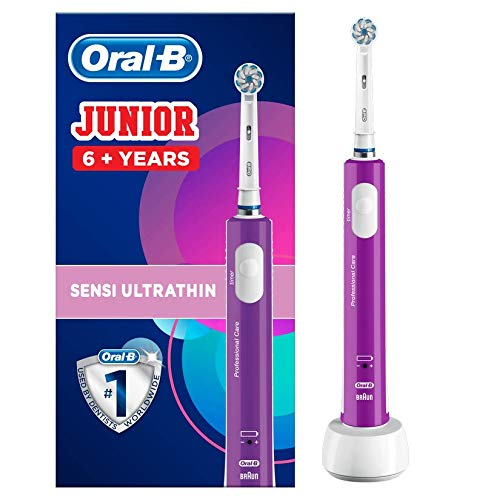 Oral-B Junior Kids Electric Rechargeable Toothbrush for Children Age 6-12, 1 Rechargeable Handle and 1 Sensitive Toothbrush Head Powered by Braun, Purple, Brush Away Easter Egg Treats