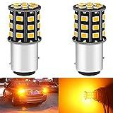 ALOPEE 2-Pack 1157 BAY15D 1016 1034 7528 2057 2357 Phares de Clignotants de Voiture - 12V-24V Ambre/Jaune 2835 Ampoules de 33 LED SMD - Remplacement de L'ampoule LED de Clignotant de Queue