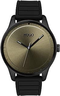 Hugo Men's #Move Quartz Black IP and Rubber Strap Casual Watch, Color: Khaki (Model: 1530041)