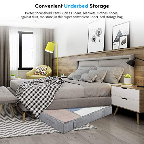 Onlyeasy Large Underbed Storage Bags Organizer Container (2 Pack) with 4 Handles and 2 Sturdy Zippers, Blankets Clothes Comforters Foldable Storage Bags with Clear Window, Herringbone Grey, MXRUBBP2
