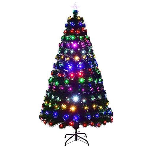 COSTWAY 150/180/210cm LED Künstlicher Weihnachtsbaum mit 8 Lichtmodi, Tannenbaum mit Sternspitze und Metallständer, Christbaum mit Glasfaser und 6-farbige Leuchten, Kunstbaum Weihnachten, grün (150cm)