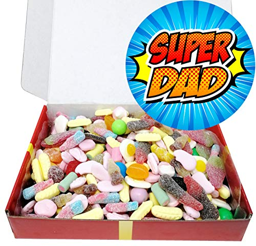 Super Dad Retro Penny Sweets Gift Box with gold bow.
